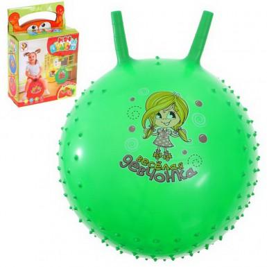 """Мяч-попрыгун с рожками """"Счастливые улыбки"""" массажный, 55 см (зеленый)"""