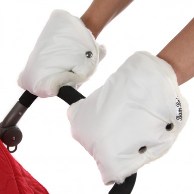 Муфты-варежки на ручку коляски лайт (белый)