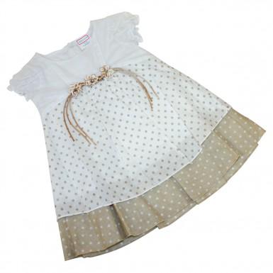 Платье в горошек с аппликацией