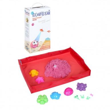 Космический песок Песочница+формочки (розовый) 2 кг