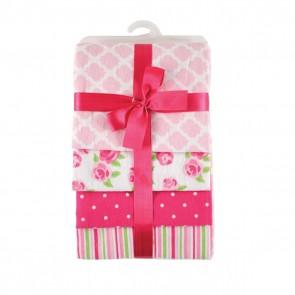 Пеленки подарочные, комплект 4 шт., (фланель, розовый)