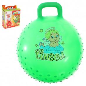 """Мяч-попрыгун с ручкой """"Счастливые улыбки"""" массажный, 45 см (зеленый)"""
