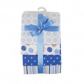 Пеленки подарочные, комплект 4 шт., (фланель, голубой)